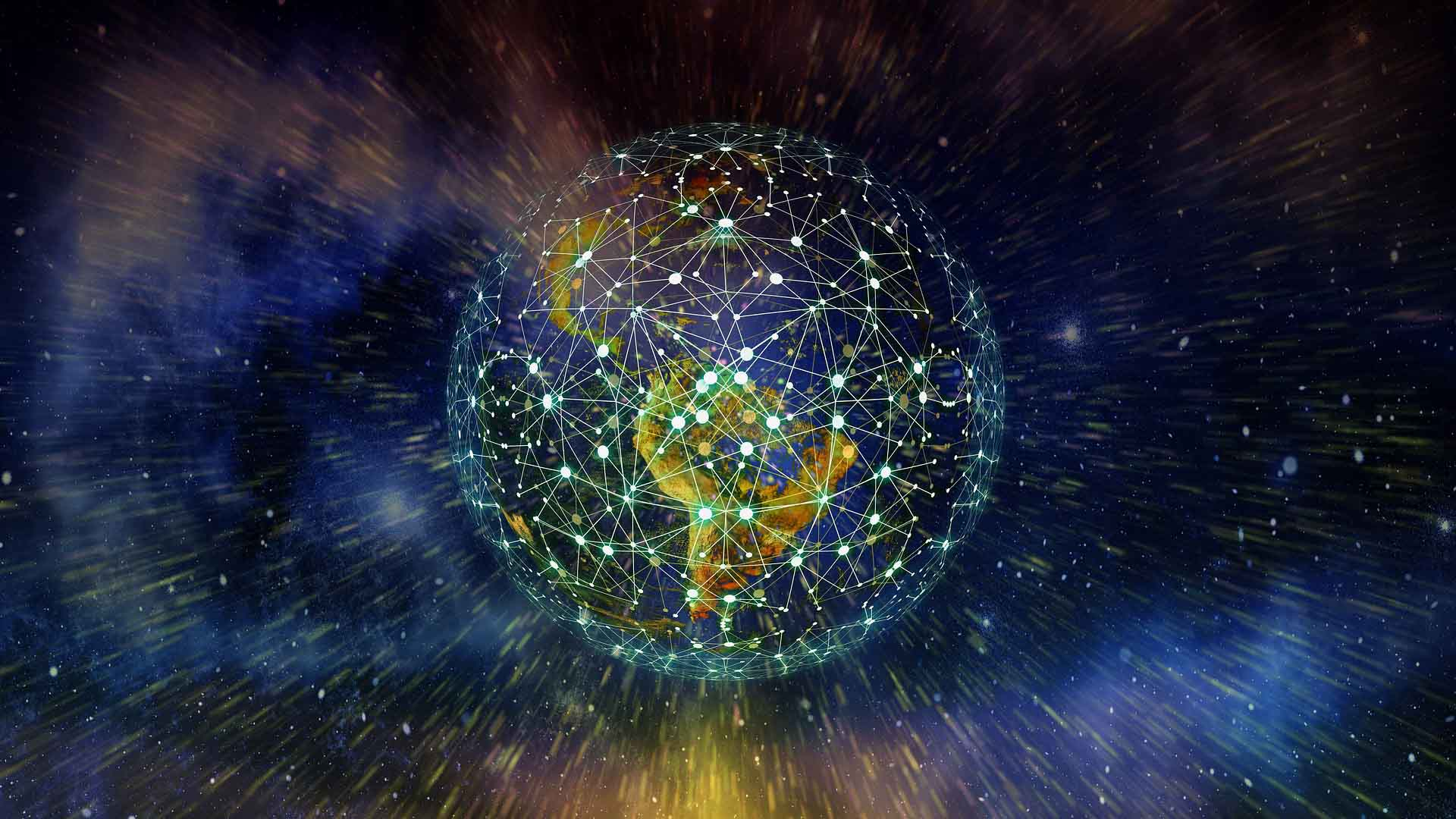 The earth is covered in network nodes as it undergoes a digital transformation
