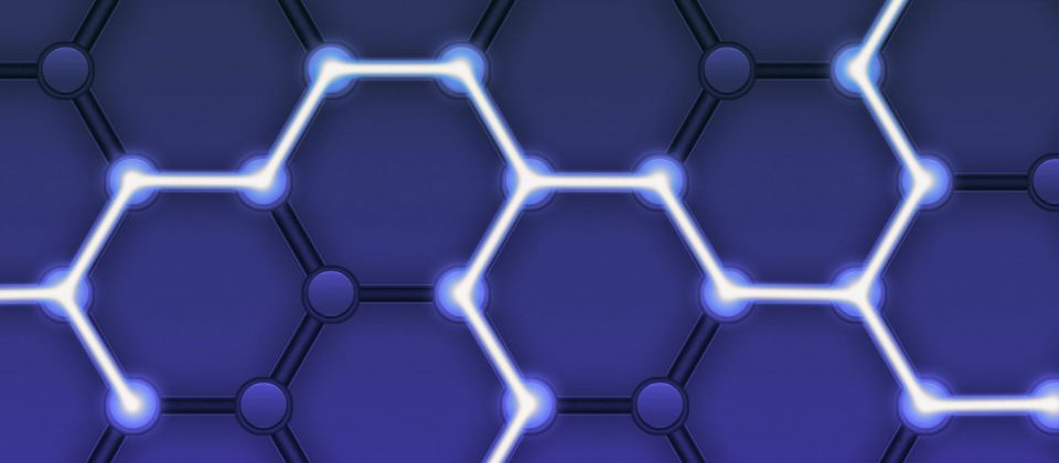 blockchain is represented by a ray of light that moves across multiple nodes in a hexagonal pattern